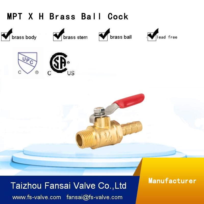 "USA eco-friendly no lead brass forged 1/4"" male*5/16H red short handle mini cock gas ball valve"