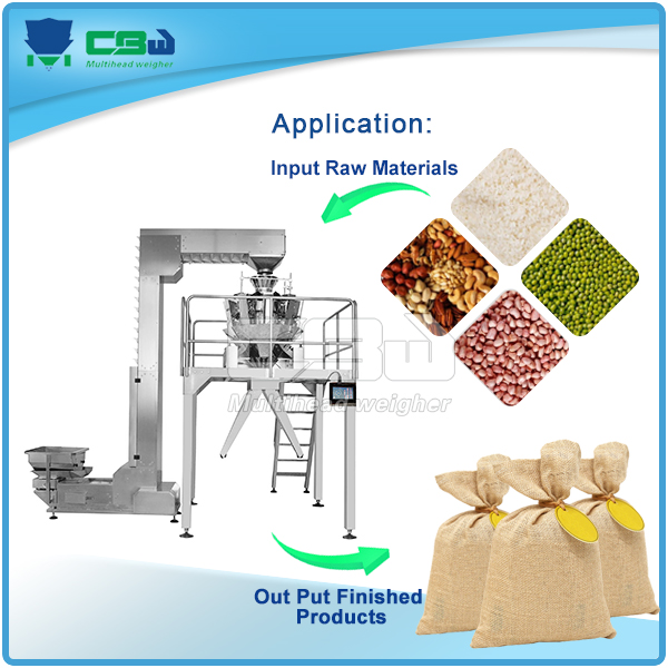 Packing machine with 11 heads multihead combination weigher for walnut ,peanut and other nuts