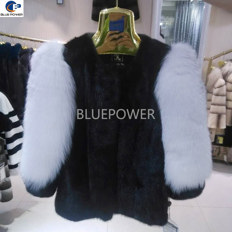 Women design shell pelt mink fur with white fox fur sleeves coat