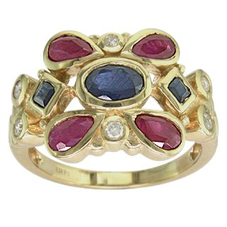 Art Deco Style 2.25 ct Blue Sapphire & Ruby & Diamond Ring 14kt Gold