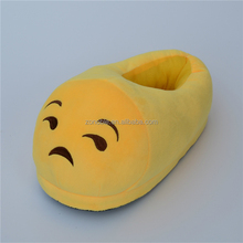 Fashion funny plush emoji slipper custom cute various soft plush emoji shoes