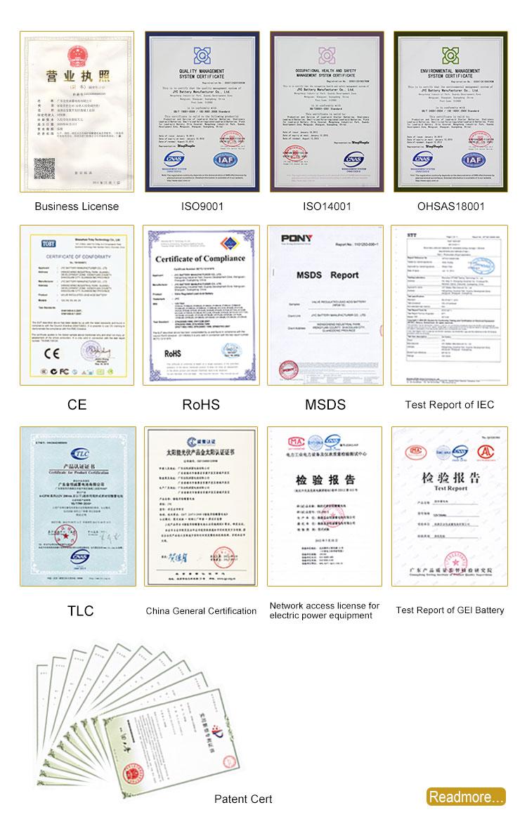 5 JYC battery Certificate