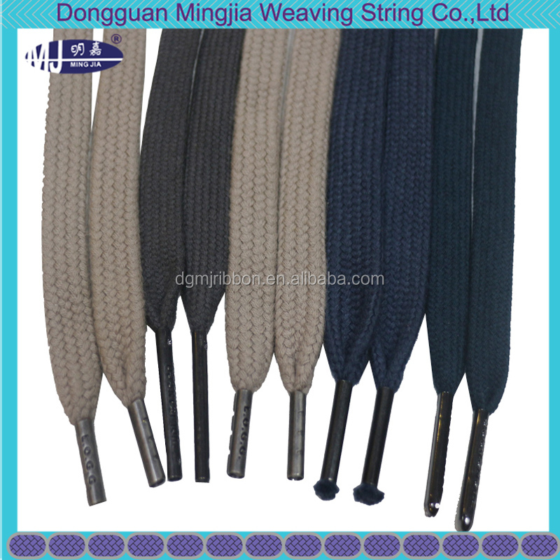 wholesale custom logo metal tips braided draw cotton cord for garment