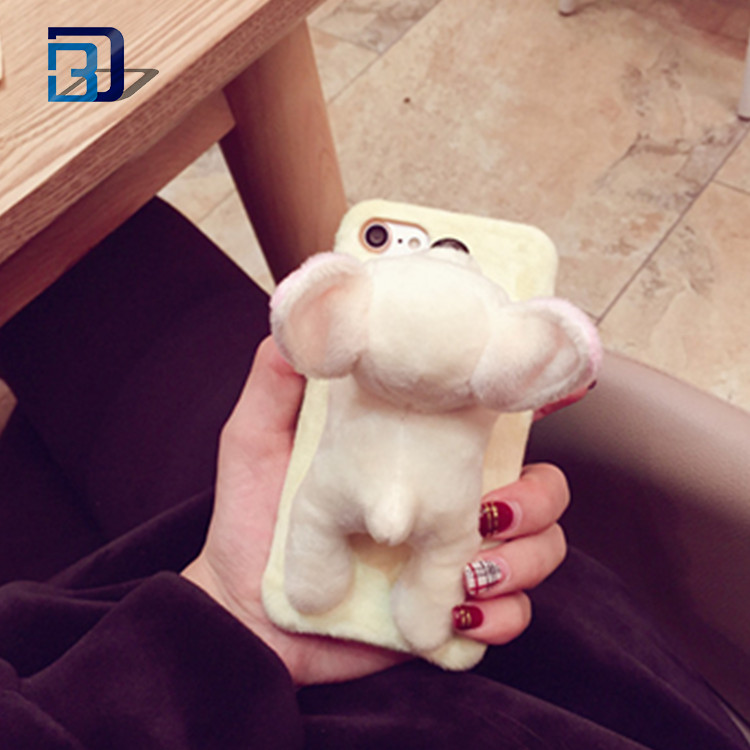 3D Cartton Puppy Plush Phone Back Case Super Soft Fluffy Cell Phone Case Pink Puppy Dog Phone Cover For Iphone 7