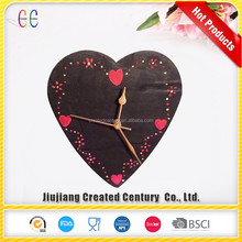 Cheap decorative heart shaped kids wall clock and slate wedding gift wall clock
