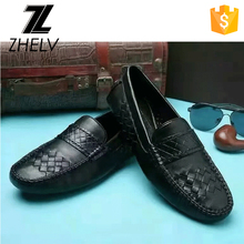 2017 italian moccasin shoe fashion cow skin genuine leather knitted slip on men business office comfort shoes