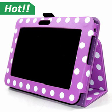 Romantic Purple Polka Dot PU Leather Tablet Case For Amazon Kindle Fire HD