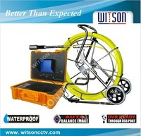 WITSON water well inspection camera with Push Rod Wheel 120M Fiberglass Cable