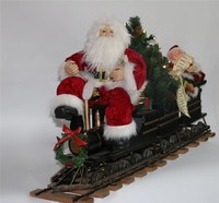 XM-A6021 42 inch indoor lighted tree santa claus sitting train with elf for christmas decoration
