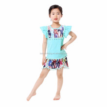 Howell cute flutter sleeve top colorful horse pattern shorts kids summer boutique wholesale designer clothing for kids
