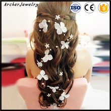 Handmade hot sale pearl White butterfly hairband soft <strong>accessories</strong> for bride <strong>hair</strong> <strong>accessory</strong> HA-1416
