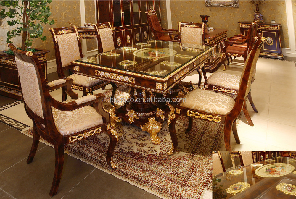 Luxury French Baroque Style Dining Room Sets/ Antique Brown Retangular Dining  Table With Porcelain U0026