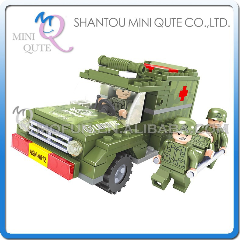 Mini Qute DIY military army medical jeep truck vehicle action figures plastic cube building block brick educational toy NO.22409