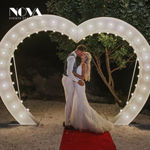 hot sale 3D manual illuminated lighted up metal wedding arch lamps heart shaped led lights