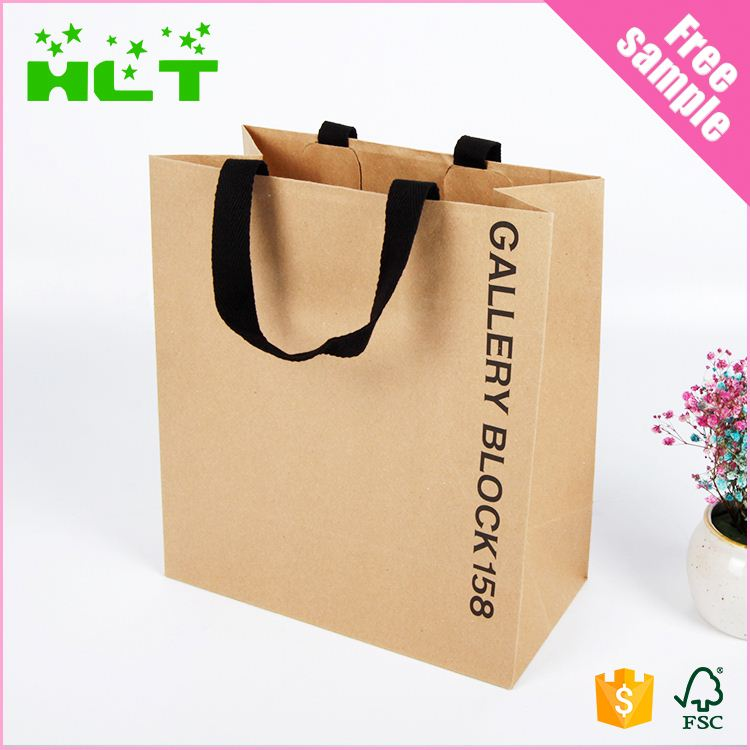 Embossed Debossed Lamination brown Kraft Paper Bags With Handles