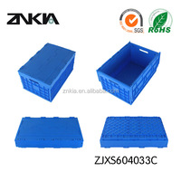 Stackable plastic folding box fruit crate with lid