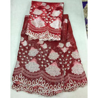 Red bazin riche Fabric Nigeria Style with stones low price