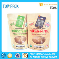 Top grade custom 5oz stand up kraft paper pouch for nuts with clear window and swing ticket