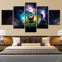 Home Decor Poster Modern Wall Art Pictures 5 Panel OM Yoga Symbol Poster Buddha Buddhism Frame Living Room HD Printed Painting