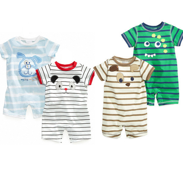 c10c9dcfaa8e 2015 Baby Boy Bodysuit Cotton Cartoon Dog Infant Boy Clothing Summer Newborn  Boy
