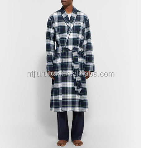 Men's Check Yarn Dyed Flannel 100% Cotton Bathrobe Robe