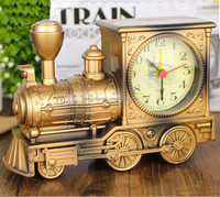 Bulk sales black, gold, silver train shaped desktop vintage clock, digital clock with europe style
