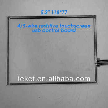 "5.2"" 118*77mm 4-wire 5-wire resistive touchscreen with com/serial control board, 5.2 inch lcd lvds touchscreen"