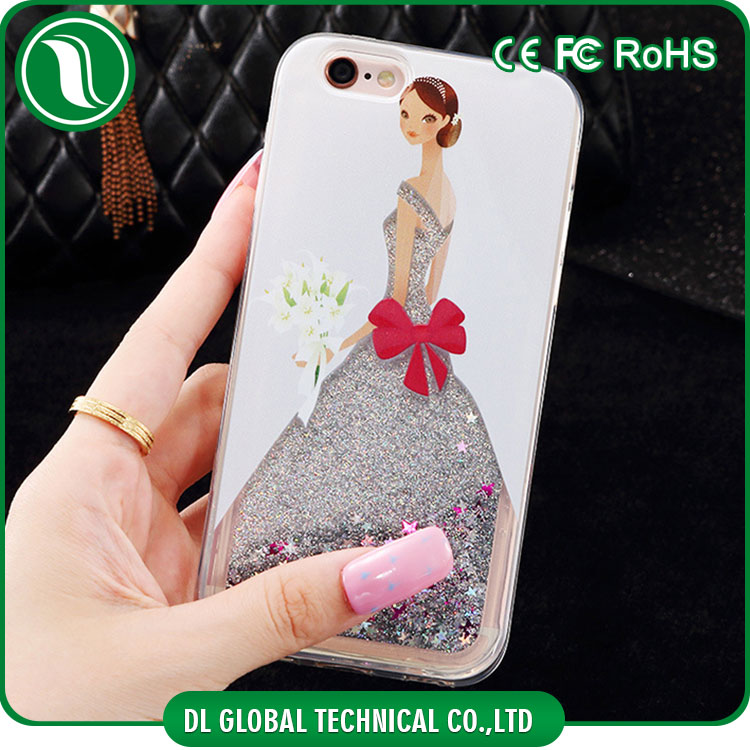 Beautiful mobile phone back cover of wedding dress phone case glitter liquid water for iphone 6 hard case
