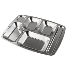 SUS 304 Stainless Steel rectangular School divided lunch tray dinner <strong>plate</strong> for cateen fast food restaurant use