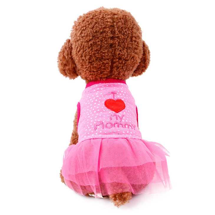 Dog Summer wear fabric embroidery pet dog dress LOVE MOMMY pet dog skirt