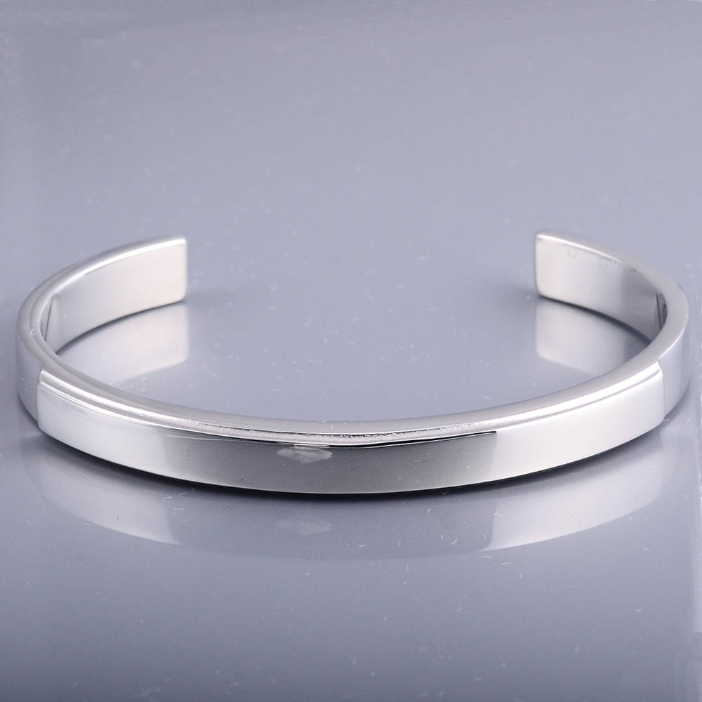 New Model Polished Silver Stainless Steel Cuff Bangles