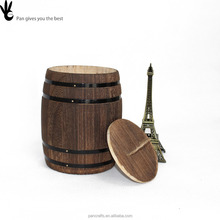 Pan fine natural color tea pot High Quality Elegant Wooden Coffee Bean Barrel