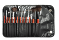 Cheap 12pcs cosmetic brush set with black PU bag