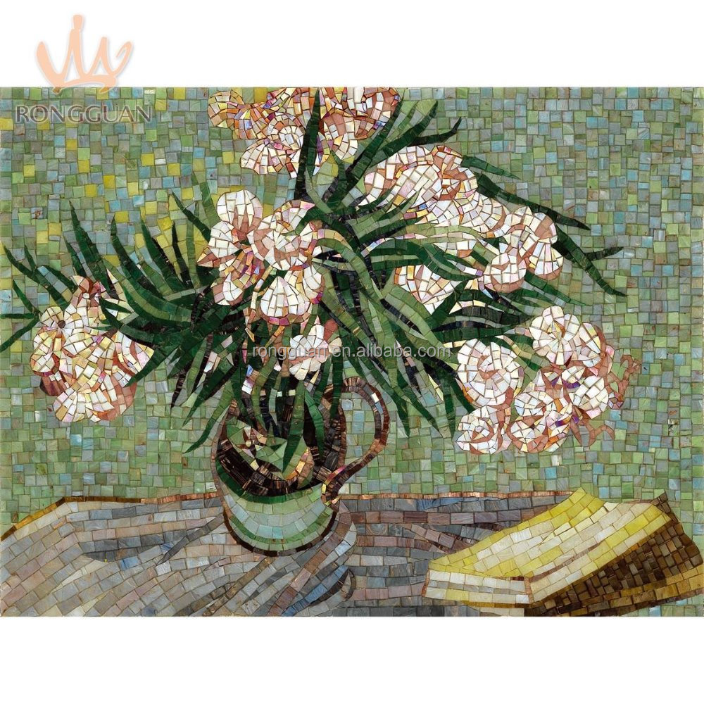 Glass mosaic hand-cut picture for wall flower mural mosaic pattern