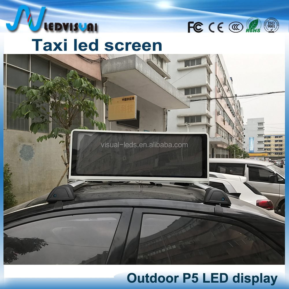 dual face car top led advertising sign / 4g wireless control taxi roof led display screen