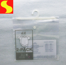 OEM own logo snap button hanger hook plastic packaging bag for baby clothes
