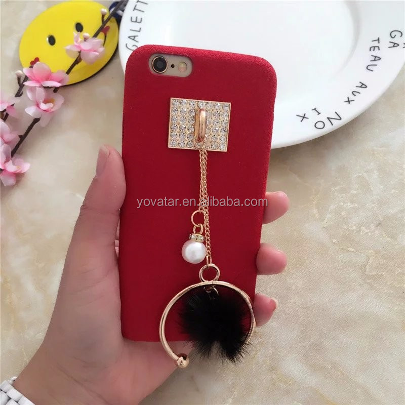 2017 New Product Soft Plush Rabbit Fur Pompom Ball Tassel phone Case for Apple Iphone 7