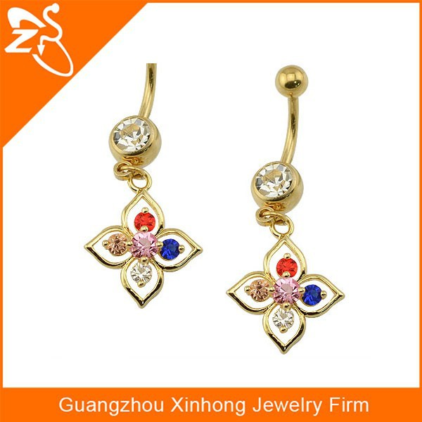 Body Piercing Jewelry 14g 14 gauge 316L Stainless Surgical Steel Crystal Charm Navel Single CZ Gem