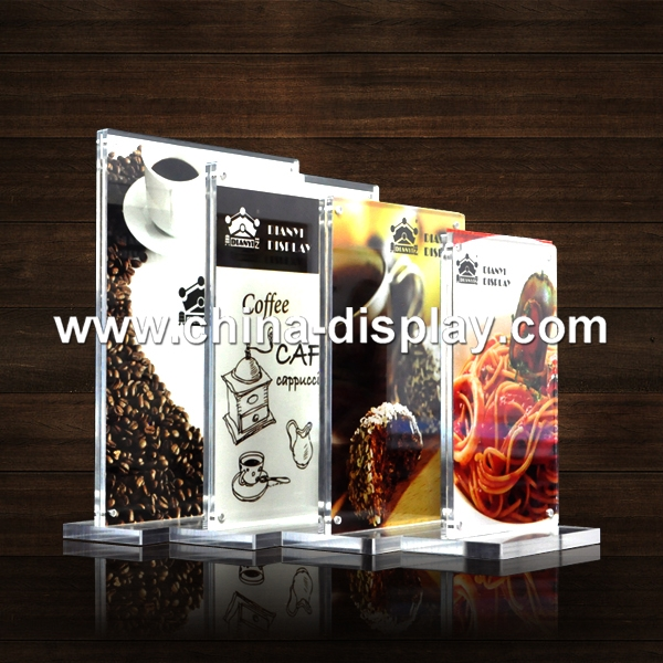 2017 New Display Product Customized Advertising Acrylic Menu Stand For Restaurant