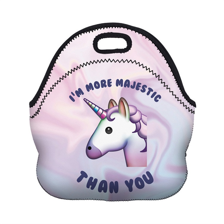 Hot Selling Full Color Printing Lovely Cartoon Neoprene Lunch Bag