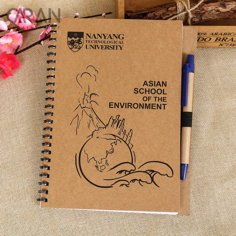 A6 Size Kraft Paper University School Students Diary Notebook with a Pen