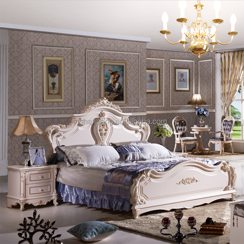Luxury Royal French Baroque Rococo Style King Queen Size Cream White Baroco bed