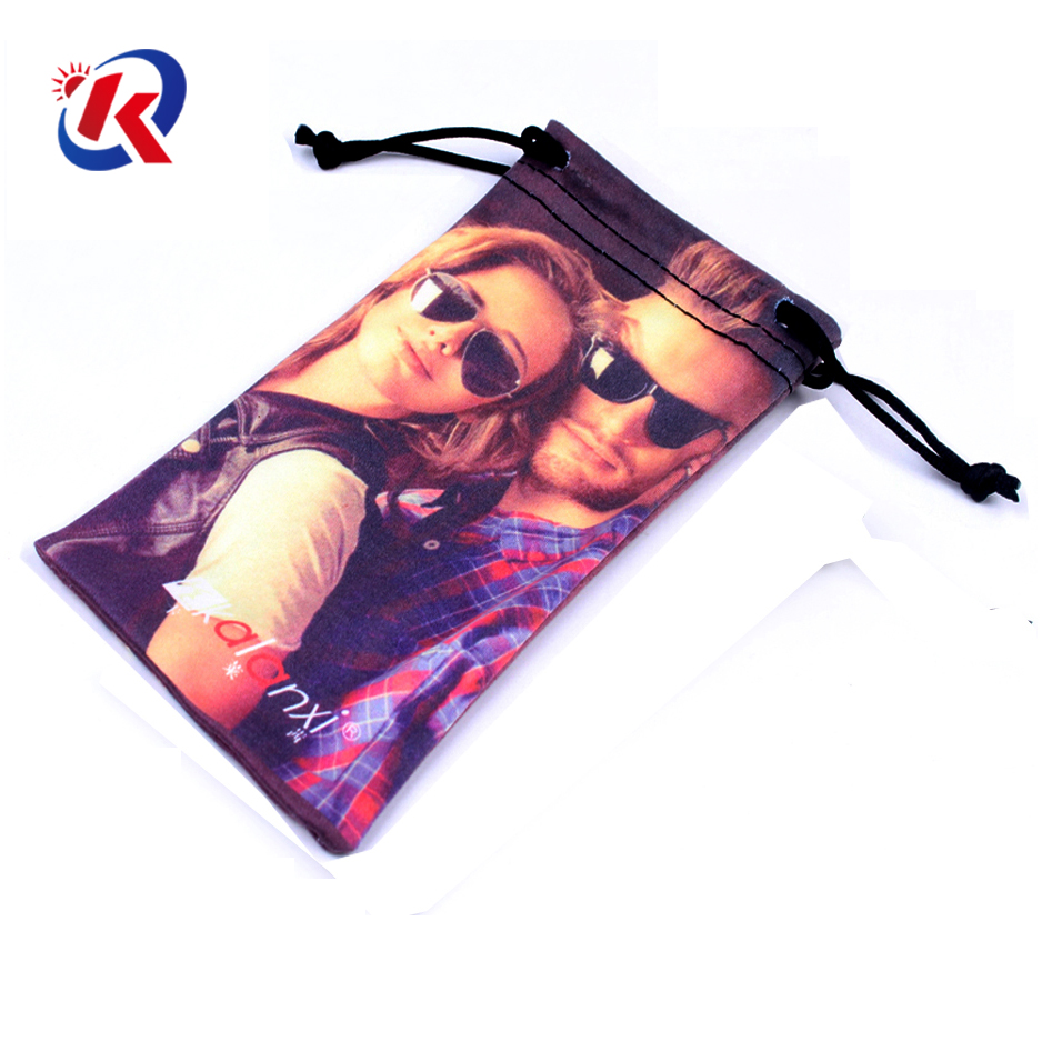 Microfiber transfer printed soft power bank case with drawstring