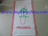 Big Polypropylene laminated PP Woven Bags with two red strips for Packing Rice/Grain