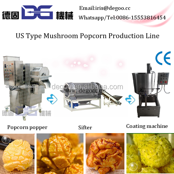Fully automatic Commercial sweet savory popcorn processing line large capacity 30-40kg/h 60-100kg/h Jinan DG machinery