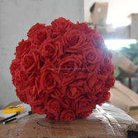 Wholesale 12 inch red peach foam rose flower kissing ball silk rose balls