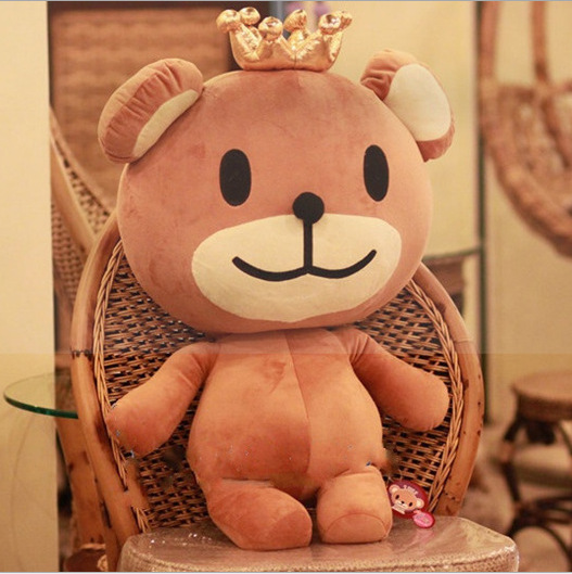 two colors pleased cuddly bear stuffed toy with crown