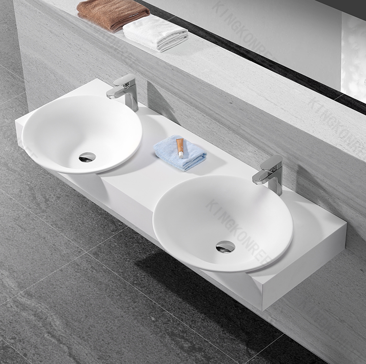 Undermounted basin sink bathroom sinks with two faucets for Mini lavabo salle de bain