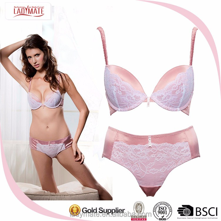Women Comfortable Nude Color Underwear White Sexy Satin Lingerie