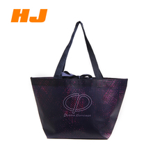 Hot selling purple reusable large capacity handle non woven fabric shopping bag